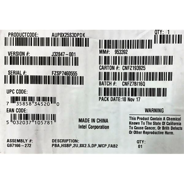 Intel AUP8X25S3DPDK 8x2.5 inch Dual Port SAS Hot Swap Drive Bay Kit New Bulk Packaging