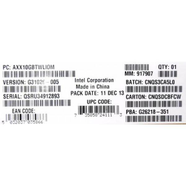 Intel AXX10GBTWLIOM Dual Port Intel X540-BT2 10GbE I/O Module New Bulk Packaging