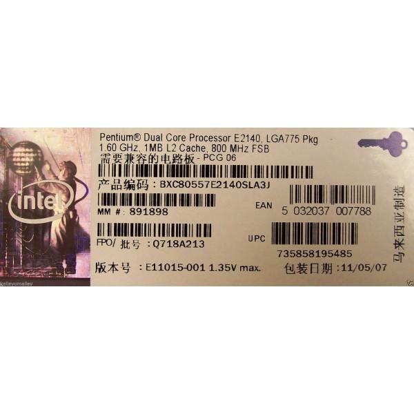 Intel Pentium E2140 1M Cache 1.60GHz 800MHz FSB BX80557E2140 SLA3J New Retail Box