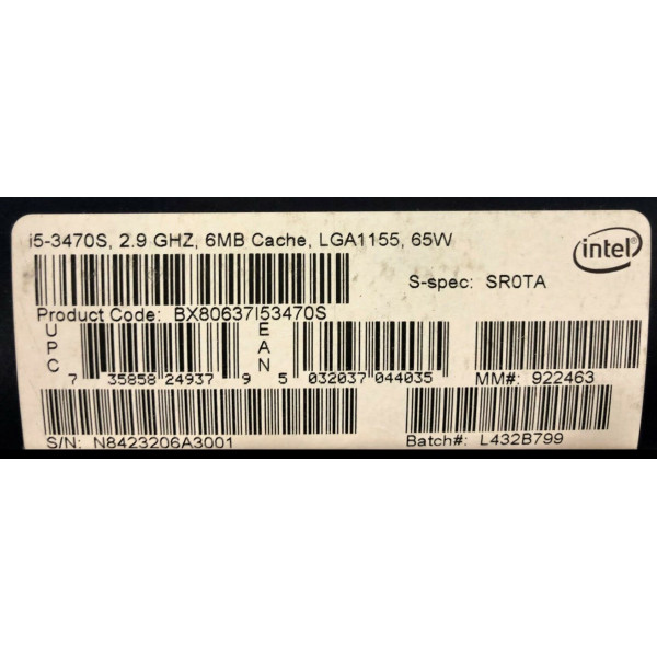 Intel BX80637I53470S SR0TA Core i5-3470S Processor 6M Cache, up to 3.60 GHz New Retail Box