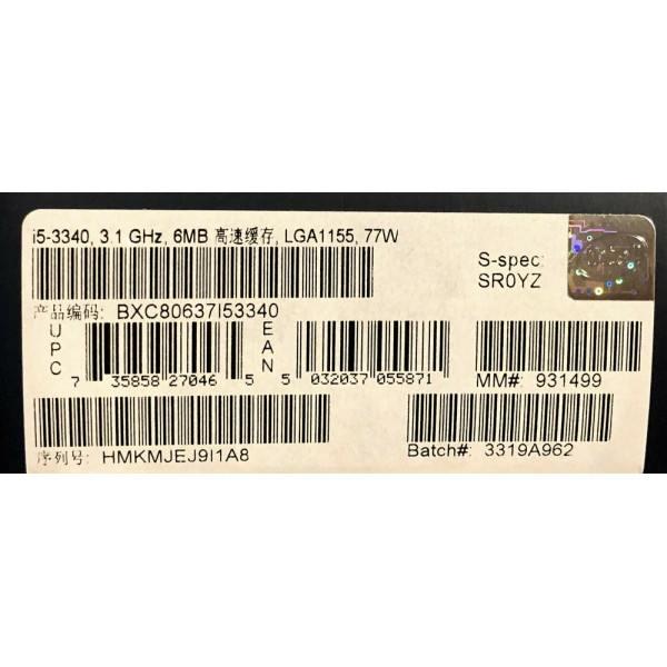 Intel BXC80637I53340 SR0YZ Core i5-3340 Processor 6M Cache, 3.30 GHz New Retail Box