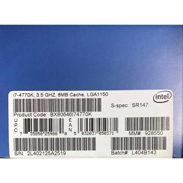 Intel BXF80646I74770K SR147 Core i7-4770K CPU 8M Cache to 3.90 GHz New Retail Box, No Fan Included