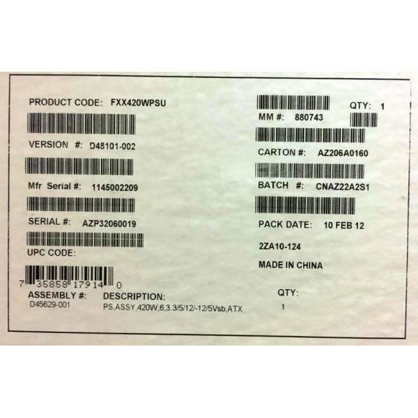 Intel FXX420WPSU 420W Power Supply New Bulk Packaging