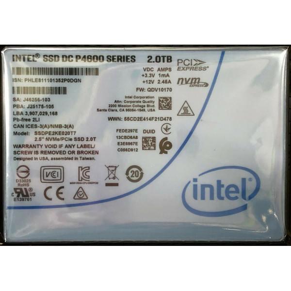 Intel SSDPE2KE020T701 SSD DC P4600 Series 2.0TB, 2.5in PCIe 3.1 x4, 3D1 TLC Tested Customer Return OEMXS#4620