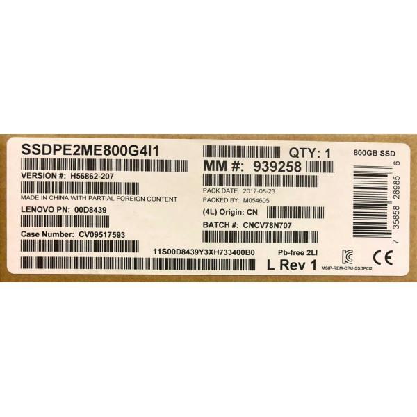 Intel / Lenovo SSDPE2ME800G4I1 SSDPE2ME800G4 00D8439 SSD DC P3600 Series New Bulk Packaging